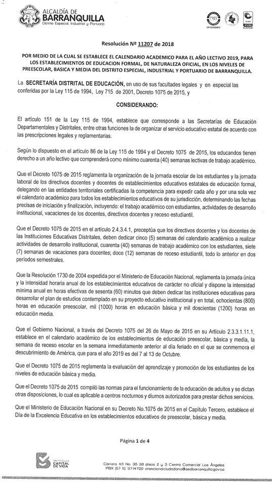 Calendario Escolar 2020 Colombia.Resolucion No 11207 De 2018 Calendario Academico 2019