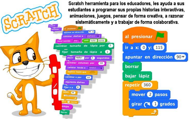 Scratch: herramienta para los educadores, les ayuda a sus estudiantes a programar en el ordenador.